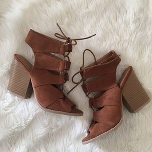Qupid Lace Up Sandals